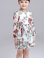 Girl's Holiday Going out Floral Dress,Cotton Fall Long Sleeves Vintage Boho White Red