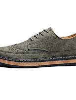 cheap -Men's Shoes Nubuck leather Spring Fall Comfort Oxfords for Casual Army Green Gray Black