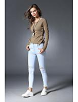 economico -T-shirt Da donna Per uscire Romantico Attivo Tinta unita Rotonda Cotone Maniche lunghe Medio spessore
