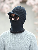 Men's Sweater Floppy Hat,Casual Solid Winter Knitted Gray Black