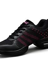 """economico -Da donna Sneakers da danza moderna Tulle Finta pelle Sneaker All'aperto A fantasia Piatto Rosa/nero Nero e Oro 1 """"- 1 3/4"""""""