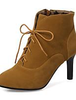 Недорогие -Для женщин Обувь Флис Зима Осень Модная обувь Ботильоны Ботинки На шпильке Заостренный носок Ботинки для Для праздника Черный Серый