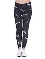 cheap -Women's Printing Polyester Medium Print Legging,Print Black