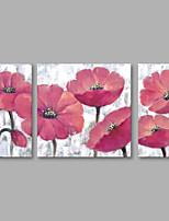 Недорогие -Ручная роспись Цветочные мотивы/ботанический Вертикальная,Modern Холст Hang-роспись маслом Украшение дома 3 панели