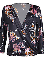 cheap -Women's Going out Casual/Daily Vintage Cute Sexy Winter Fall T-shirt,Floral Color Block V Neck Long Sleeve Polyester Medium