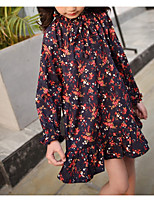 Girl's Casual/Daily Floral Dress,Polyester Winter Fall Long Sleeves Simple Wine