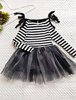 Girl's Casual/Daily Striped Dress,Polyester Winter Fall Long Sleeves Simple Black