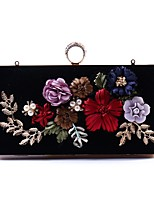 cheap -Women Bags Polyester Evening Bag Crystal Detailing Embroidery Flower(s) Pearl Detailing for Wedding Event/Party All Season Black