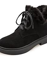 abordables -Mujer Zapatos Semicuero Invierno Primavera Forro de piel Botas Tacón Bajo Dedo redondo Punta cerrada Botines/Hasta el Tobillo Pluma para