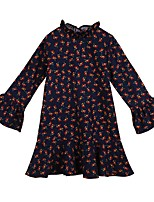 Girl's Casual/Daily Floral Dress,Polyester Winter Fall Long Sleeves Simple Navy Blue