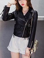 cheap -Women's Going out Simple Winter Leather Jacket,Solid V Neck Long Sleeve Regular PU
