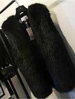 economico -Cappotto di pelliccia Da donna Quotidiano Casual Inverno Autunno,Tinta unita A V Pelliccia di volpe Standard Senza maniche