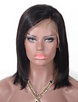 Недорогие -Натуральные волосы Лента спереди Парик Бразильские волосы Прямой Парик Стрижка боб 130% Природные волосы / Необработанные Жен. Короткие / Средние Парики из натуральных волос на кружевной основе