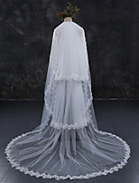 cheap -Three-tier Lace Applique Edge Bridal Wedding Wedding Veil Chapel Veils Cathedral Veils 53 Laces Lace Tulle