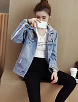 economico -Giacca di jeans Da donna Quotidiano Casual Inverno Autunno,Con stampe Con cappuccio Cotone Corto Maniche lunghe