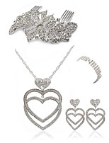abordables -Mujer Peinetas Los sistemas nupciales de la joyería Cristal Europeo Moda Boda Fiesta Diamante Sintético Legierung Corazón Joyería de