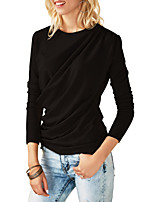 cheap -Women's Daily Street chic Winter T-shirt,Solid Round Neck Long Sleeve Polyester Spandex Thick