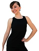 cheap -Figure Skating Top Women's Girls' Ice Skating Top Black Spandex Stretchy Performance Practise Skating Wear Solid Sleeveless Ice Skating