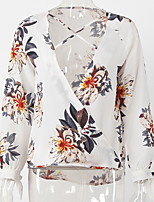cheap -Women's Holiday Casual/Daily Street chic Blouse,Floral Deep V Long Sleeve Polyester