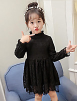 Girl's Going out Casual/Daily Solid Dress,Rayon Polyester Winter Fall Long Sleeves Street chic Princess Black