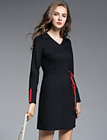cheap -MISSGIRL Women's Daily Going out Casual Street chic Shift Dress,Solid V Neck Knee-length Long Sleeve Cotton Nylon Spandex Spring Fall Medium Waist