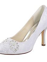 preiswerte -Damen Schuhe Stretch - Satin Frühling Herbst Pumps Hochzeit Schuhe Stöckelabsatz Runde Zehe Kristall Perle für Kleid Party & Festivität