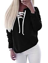 economico -T-shirt Da donna Per uscire Per eventi Vintage Romantico Casual Inverno Autunno,Tinta unita Rotonda Poliestere Maniche lunghe Medio