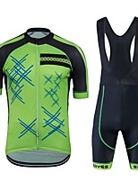 cheap -Cycling Jersey with Bib Shorts Unisex Short Sleeves Bike Clothing Suits Bike Wear Quick Dry Geometric Cycling / Bike Green