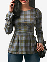 cheap -Women's Holiday Club Vintage Sexy Spring Fall T-shirtColor Block Plaid Round Neck Long Sleeve Polyester Medium