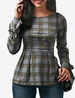 abordables -Mujer Vintage Sensual Festivos Discoteca Primavera Otoño Camiseta,Escote Redondo Bloques A Cuadros Mangas largas Poliéster Medio