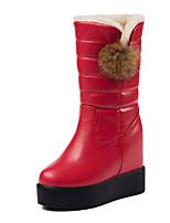 preiswerte -Damen Schuhe PU Winter Herbst Komfort Schneestiefel Stiefel Creepers Mittelhohe Stiefel für Normal Schwarz Rot