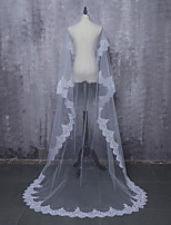 cheap -One-tier Lace Applique Edge Bridal Wedding Wedding Veil Cathedral Veils 53 Laces Tulle