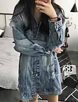 cheap -Women's Going out Street chic Winter Fall Denim Jacket,Solid Shirt Collar Long Sleeve Long Polyester