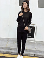 cheap -Women's Sports Casual Winter Hoodie Pant Suits,Print Crew Neck Long Sleeve Polyester