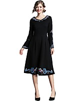 cheap -SHE IN SUN Women's Daily Work Casual Street chic A Line Swing Dress,Floral V Neck Maxi Long Sleeve Polyester Fall Mid Rise Inelastic Opaque