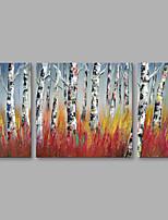 Недорогие -Ручная роспись Пейзаж Вертикальная,Modern Холст Hang-роспись маслом Украшение дома 3 панели
