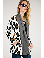 cheap -Women's Sports Casual/Daily Simple Cute Summer Fall Vest,Leopard Shirt Collar Long Sleeve Regular Polyester