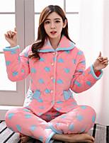 abordables -Costumes Pyjamas Femme,Imprimé Imprimé Cachemire Coton Rose Claire