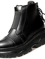 cheap -Women's Shoes PU Winter Fall Comfort Fashion Boots Boots Flat Heel Round Toe Mid-Calf Boots for Casual Black