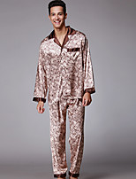 abordables -Costumes Pyjamas Homme,Fleur Moyen Polyester Marron