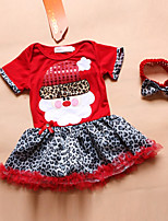 cheap -Girl's Christmas Leopard Dress,Cotton Polyester Winter Fall Short Sleeves Cartoon Black Red
