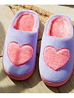 Недорогие -Для женщин Обувь Флис Зима Осень Удобная обувь Тапочки и Шлепанцы Плоские для Повседневные Серый Лиловый Кофейный Розовый