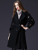 cheap -FRMZ Women's Casual/Daily Work Simple Vintage Winter Coat,Solid Shirt Collar Long Sleeve Long Acrylic Polyester Nylon