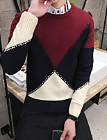 cheap -Men's Casual/Daily Regular Pullover,Color Block Round Neck Long Sleeves Others Fall Winter Medium Micro-elastic