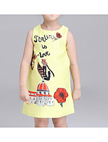 Girl's Going out Casual/Daily Print Dress,Cotton Summer Sleeveless Street chic Princess Yellow Fuchsia