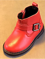 cheap -Girls' Shoes Cowhide Winter Fall Comfort Combat Boots Boots Walking Shoes Booties/Ankle Boots Buckle For Casual Red Black
