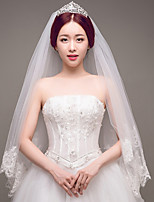 cheap -Two-tier Lace Applique Edge Bridal Wedding Wedding Veil Fingertip Veils 53 Laces Sequin Embroidery Lace Tulle Sequins