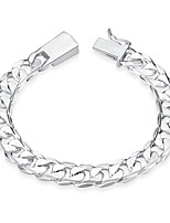cheap -Men's Chain Bracelet Simple Fashion Silver Plated Heart Jewelry Birthday Gift