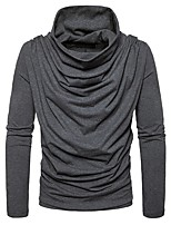 cheap -Men's Daily Casual Regular PulloverSolid Turtleneck Long Sleeves Polyester Spandex Winter Fall Thick Micro-elastic