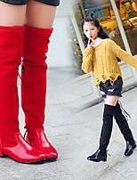 abordables -Fille Chaussures Polyuréthane Hiver Automne Bottes à la Mode De minuscules talons pour les ados Bottes Cuissardes pour Décontracté Noir